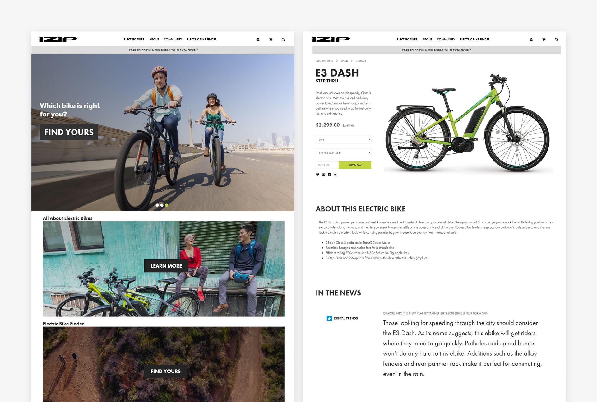 IZIP Electric Bikes Desktop Screens